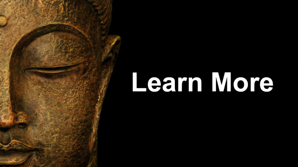 Buddha head with learn more text